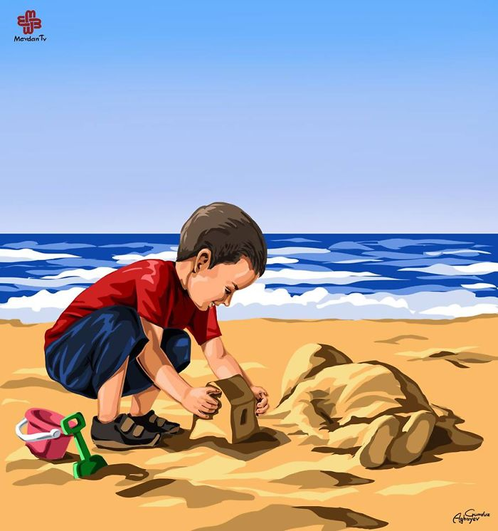 God Be With You, Little Angel. The Death Of Tragic Syrian Toddler Aylan By Gunduz Aghayev